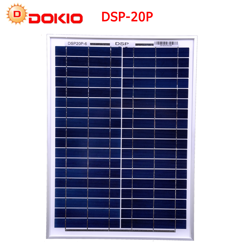 DOKIO Polysilicon Silicon 20W Solar Panel+ PWM12V 10A With Controller USB Interface LED Light For RV Car Boat Tourism ...