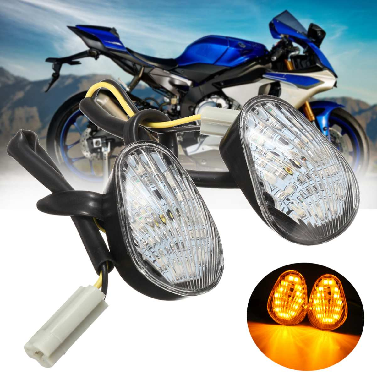 Euro Clear LED Flush Mount Turn Signal Lights For YZF R1 R6 R6S 2006 2007 2008
