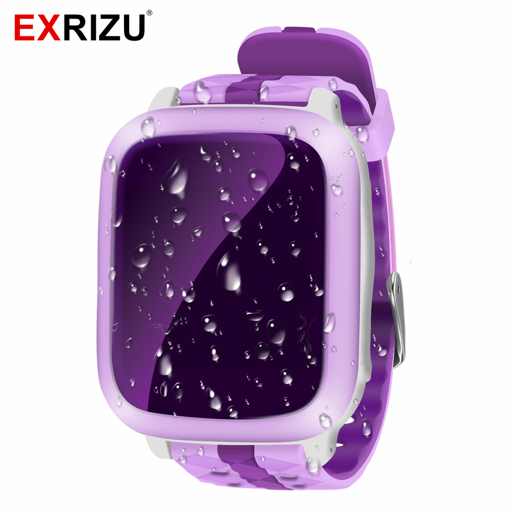EXRIZU DS18 Kids Baby Monitor Smart Watch Safe Phone GPS+WiFi+SOS Call Locator Tracker Anti lost Support SIM Card for Children lemado v12 gps sport smart watch for children 1 22 touch screen support 32g tf card vibration sos kids safe tracker with camera