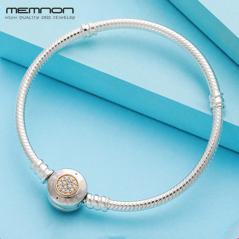 Memnon 925 Sterling Silver Two Tone Clasp with 14K gold Snake Bracelets for Women Fit Charms Beads Diy Fine Jewelry YL036