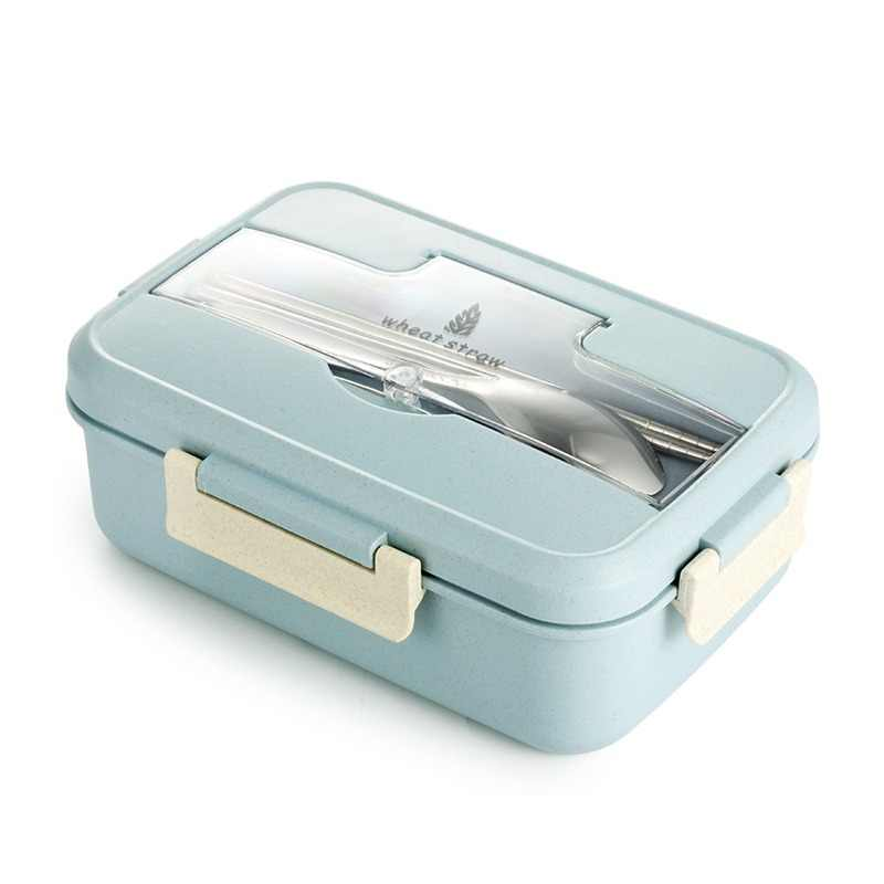 TUUTH Microwave Lunch Box Wheat Straw Dinnerware Food Storage Container Children Kids School Office Portable Bento Box
