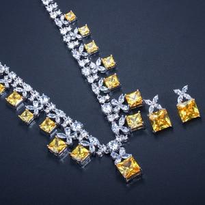 Image 4 - CWWZircons מדהים נסיכה לחתוך צהוב מעוקב Zirconia אבן נשים מסיבת חתונת תלבושות שרשרת תכשיטים עבור כלות T351