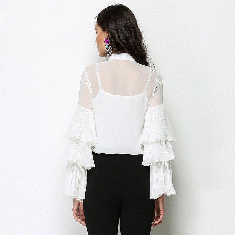 Chemisier Printemps Manches Rayé Femmes Blouses Chemises Été Coréen Tops Bureau Volants Blanc À 2017 Dames Longues Piste Shirt Yn7Hqdq