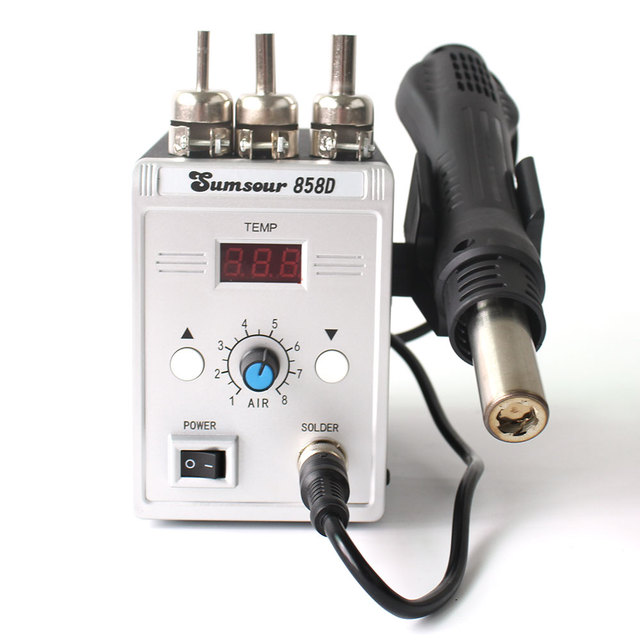 Soldering Desoldering Station 858D 220V / 110V 700W Adjustable Digital Display Heat Gun BGA SMD Hot Air Gun Rework Solder Repair