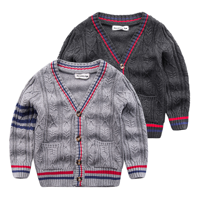 Children with coarse wool sweater 2017 spring New Kids Baby Boy sweater V-neck casual knit cardigan