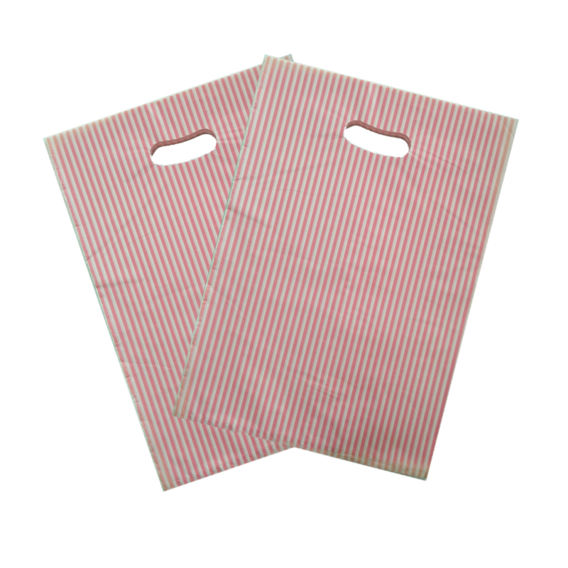 100pcs/lot 25x35cm Pink Stripes Design Big Plastic Gift Bag Boutique Gifts Clothing Packaging Plastic Shopping Bags With Handle