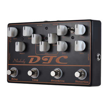 Muslady DTC 4-in-1 Electric Guitar Effects Pedal Distortion + Overdrive + Loop + Delay Full Metal Shell with True Bypass