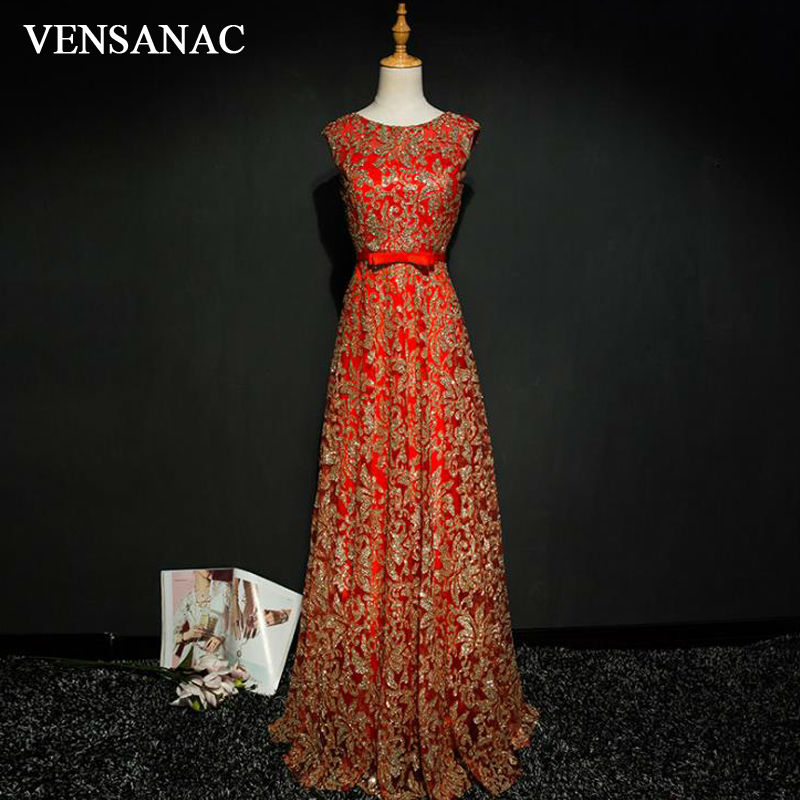 VENSANAC 2017 New A Line Embroidery O Neck Long   Evening     Dresses   Sleeveless Draped Sash Tank Sweep Train Party Prom Gowns