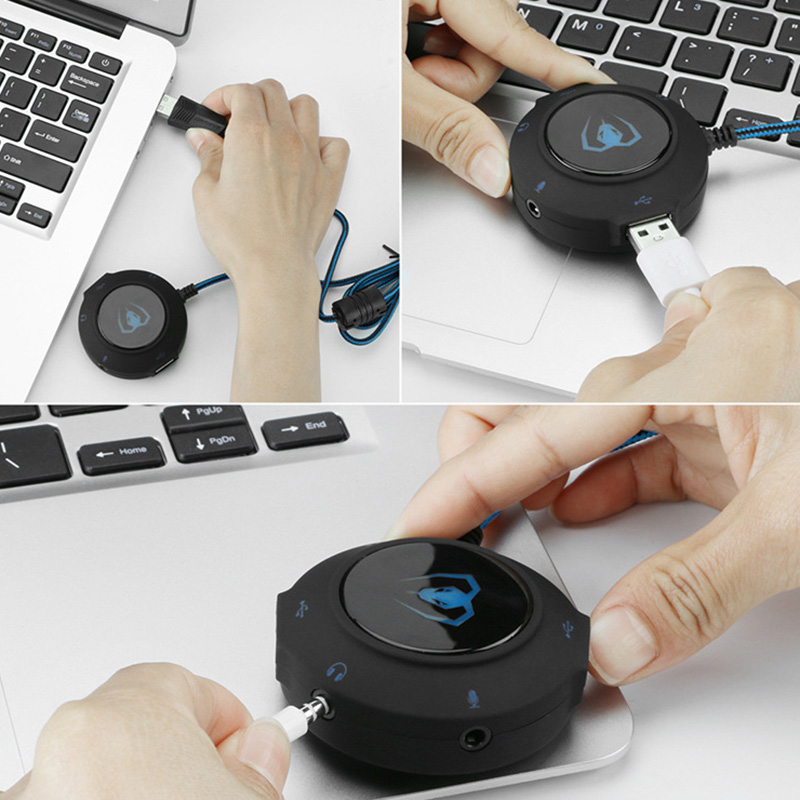 USB 2.0 Sound Card Adapter 3D Surround Sound External Audio Converter For PC Notebook XXM8