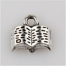 50pcs metal charm used to make jewelry, Tibetan silver book decoration hanging pendant made 11mm 50pcs tibetan silver cute roller skate ditsy charm necklace sp chain xa18