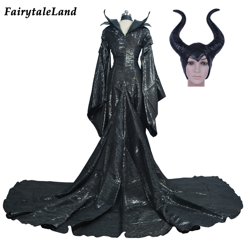 Halloween costumes for adult men women Maleficent dress fancy maleficent costume sexy dress Custom made Maleficent cosplay horn