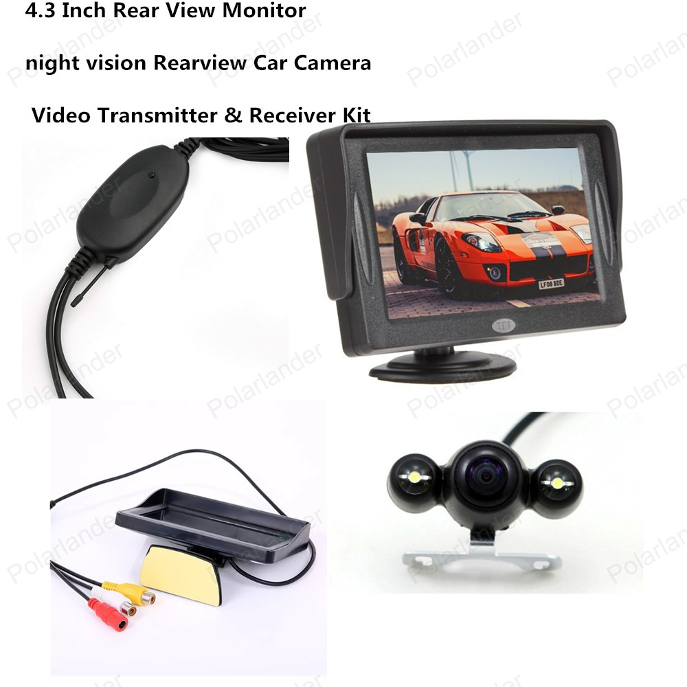 4.3 Inch Pocket-sized Color TFT-LCD Display Car Rear View Monitor with 2-Channel Video Input night vision Rearview Camera