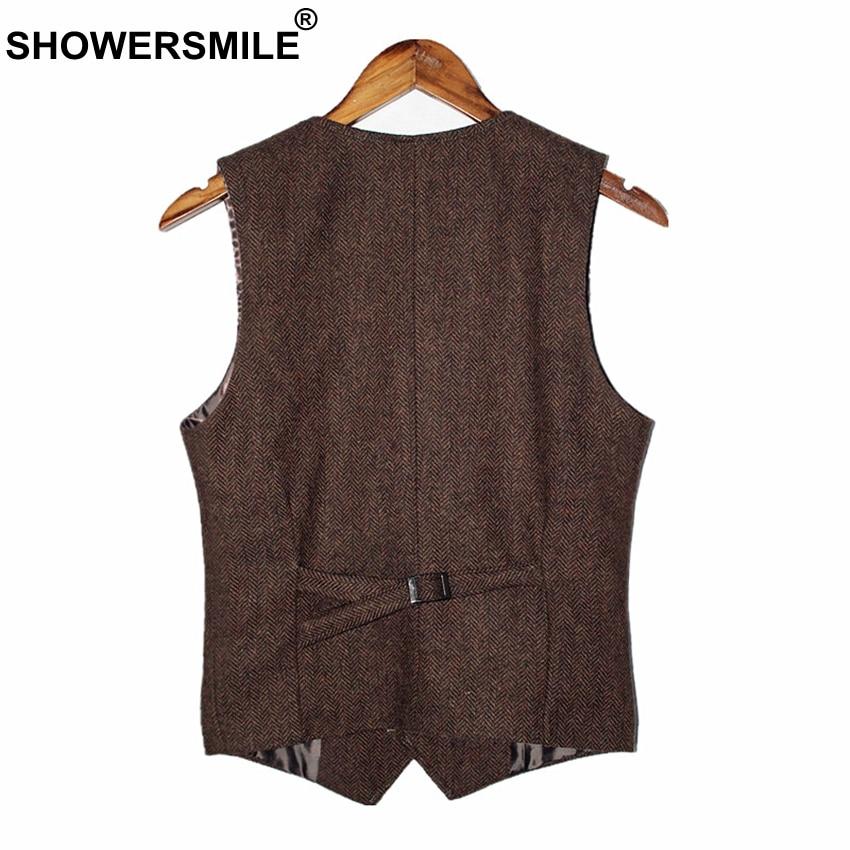 Image 2 - SHOWERSMILE Brown Mens Vest British Vintage Men Herringbone Vest  Tweed Jacket Wool Fabric Sleeveless Blazer Brand Clothingtweed  vestmens vintage vestsvintage tweed vest