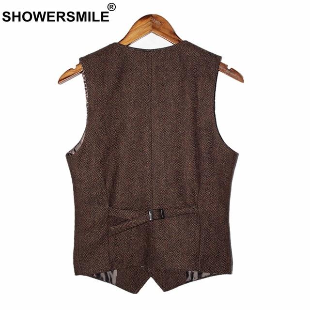 vrijetijdsschoenen 50% korting outlet winkel verkoop SHOWERSMILE Bruin Heren Vest Britse Vintage Mannen Visgraat Vest Tweed Jas  Wollen Stof Mouwloze Blazer Merk Kleding