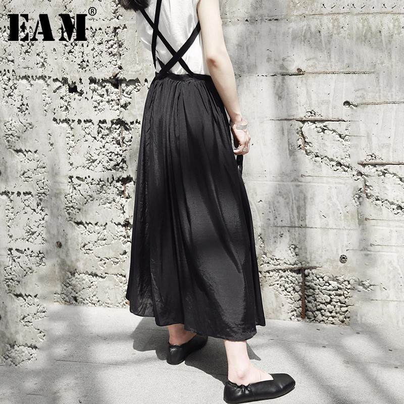 [EAM] Осень 2018 г. Новые модные черные повседневное легкий медь аммиак Шелковый Vent подол Женская ремень юбка YE01601