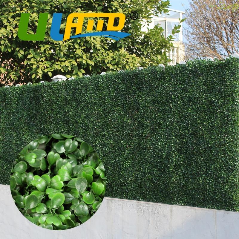 ULAND 25x25cm Artificial Boxwood Hedges Panel 10x10 Plastic Garden Grass Ivy Fence Mat Outdoor Balcony Shrubs Garden Ornaments