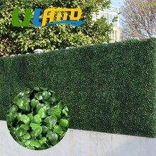 ULAND 25x25cm Artificial Boxwood Hedges Panel 10″x10″ Plastic Garden Grass Ivy Fence Mat Outdoor Balcony Shrubs Garden Ornaments
