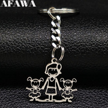 2019 Fashion Family MUM TWO GIRL Stainless Steel Key Chains Women Silver Color Kid Jewelry llaveros de acero K77428B