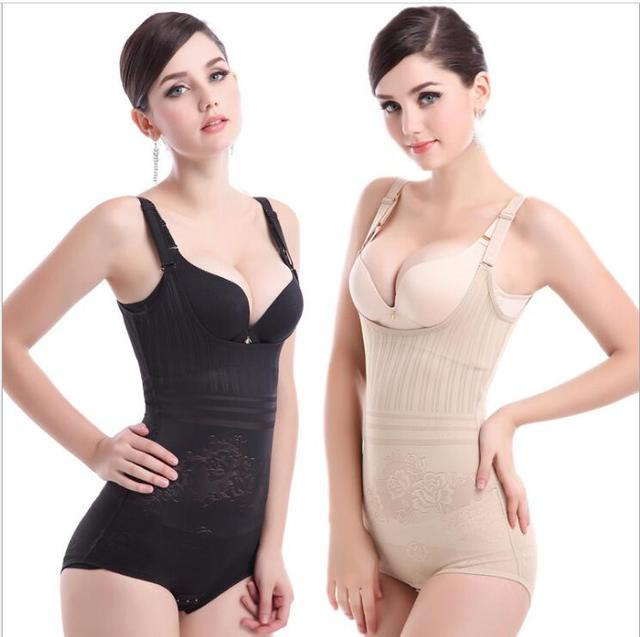 e00f7627d Free shipping Women s lift Hip prop chest waist fat burning body sculpting  no trace bodysuit shapers corset S-3XL