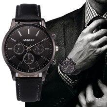 Мужские часы Ретро дизайн кожаный ремешок аналоговые сплав кварцевые наручные часы MiGEER Мужские часы горячая relogio masculino 30X