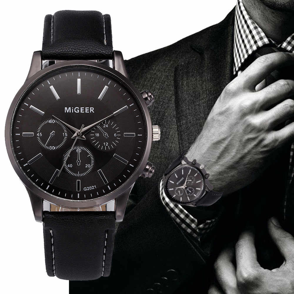 Men's Watch Retro Design Leather Band Analog Alloy Quartz Wrist Watch MiGEER Men's watches male clock hot relogio masculino 40y