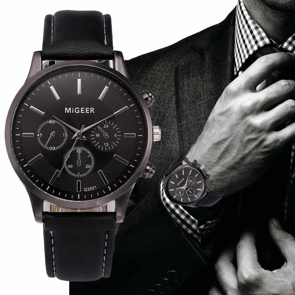 Herren Uhr Retro Design Leder Band Analog Legierung Quarz Armbanduhr MiGEER herren Uhren Männlichen Uhr Hot Relogio masculino 30X