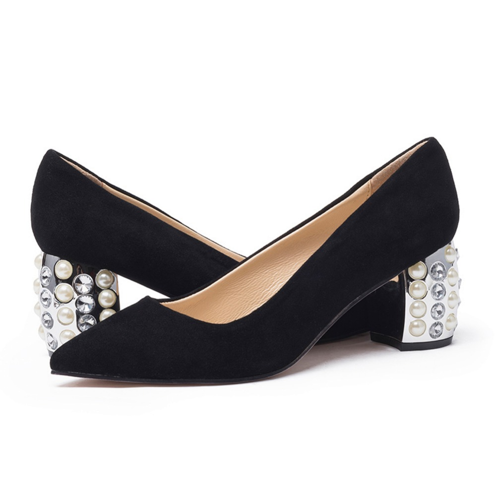 ee58aa59b6a9 Women s Black Suede Pumps Genuine Leather Rhinestones Heel Pointed Toe Slip  on Elegant Ladies Comfort High Heels Shoes New-in Women s Pumps from Shoes  on ...