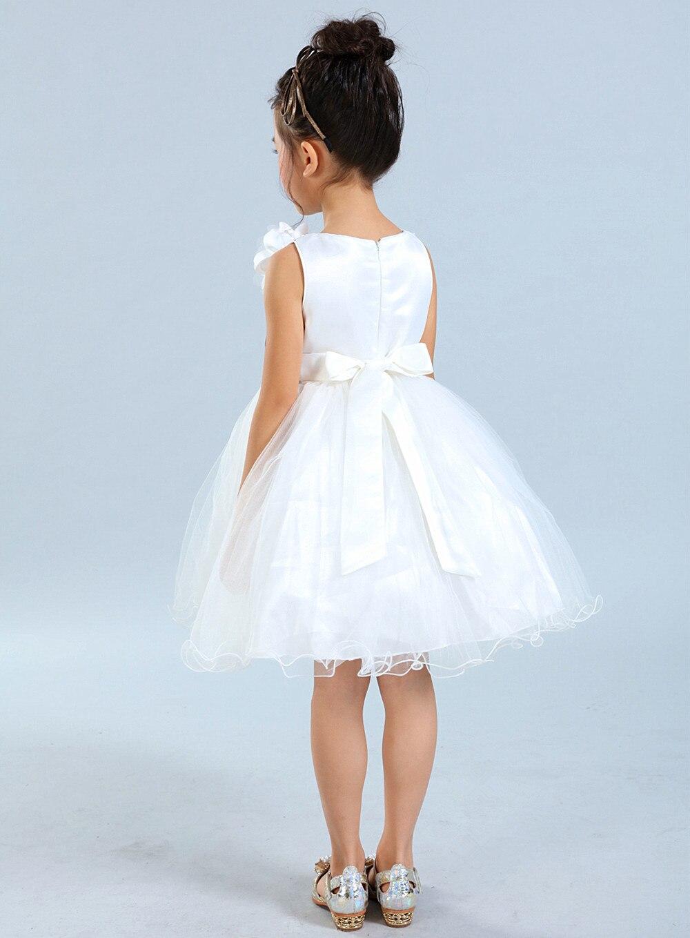 Cute Black And White Flower Girls Dresses Organza Ruffles Bow Kid