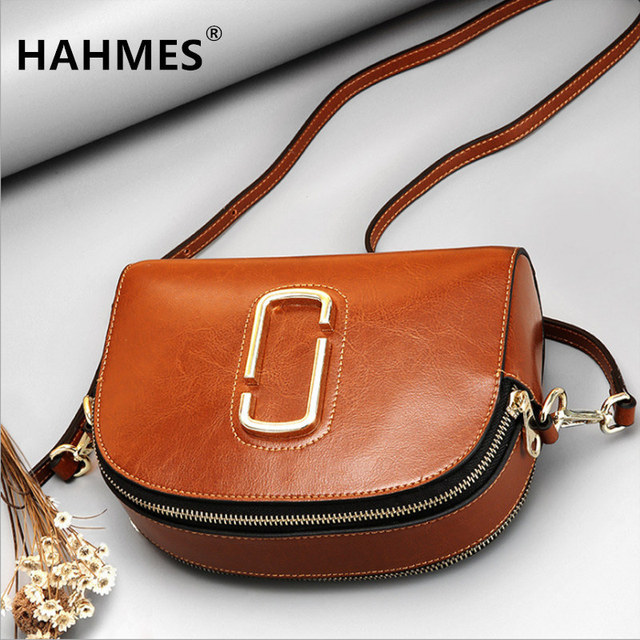 HAHMES 100% Genuine Leather Women Shell Bags women Fashion shoulder bag female Shell design small shoulder bag 21cm 10812#