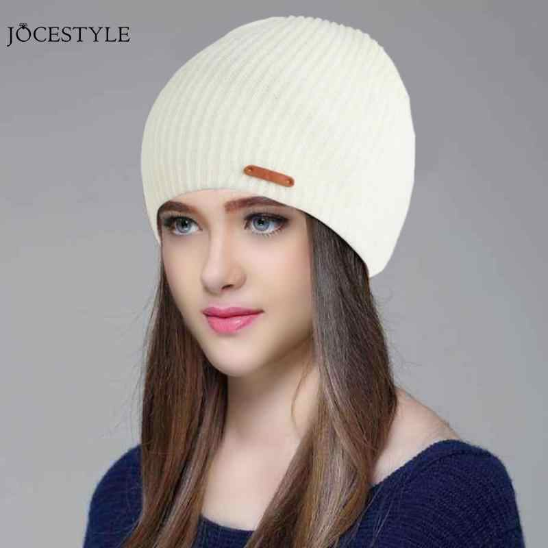c4a17196751 ... Fashion Winter Warm Hat Stripe Beanies Solid Color Knitted Cap Women  Men Casual Accessories ...