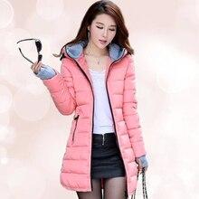 Женщины Зимняя Куртка 2016 Новая Мода Корея Длинное Пальто С Капюшоном Плюс Размер Женский Куртка Белый Вниз Хлопок Дамы пальто