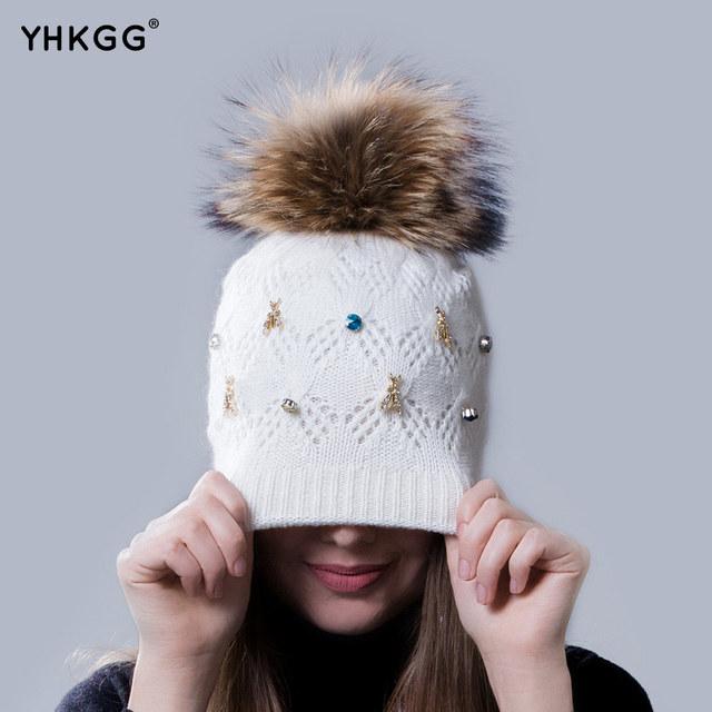 2016 brocas de diamante de color muy de moda señora caliente del invierno gorro de lana de punto de lana cap cap con la bombilla