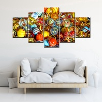 Colorful A Child S Glass Marbles Artwork 5 Panels Canvas Painting For Baby S Room Decor