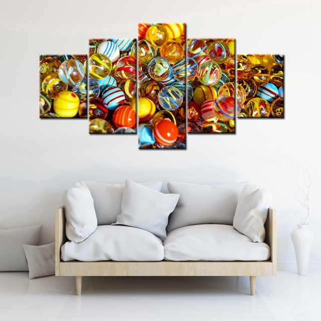 Colorful A Child\'s Glass Marbles Artwork 5 Panels Canvas Painting ...