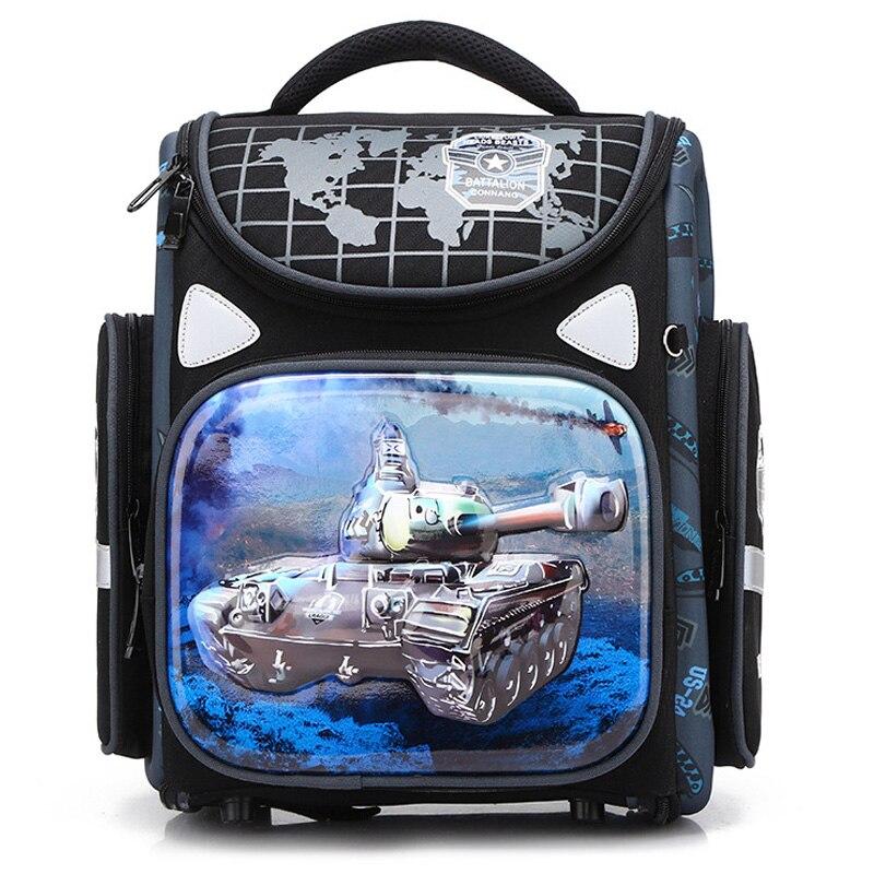 New Cartoon School Bags Orthopedic School Backpacks For Girls Boys Tank Car Pattern Backpack Student Mochila Infantil Grade 1 4