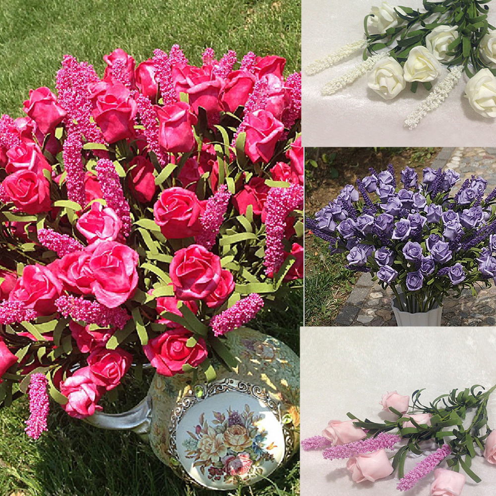 Big Sale Wedding Bridal 9 Heads Lavender Rose Artificial Peony Silk