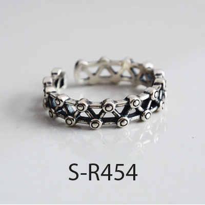 ANENJERY Vintage Handgemachte 925 Sterling Silber Ringe Für Männer Frauen Größe 18mm Einstellbar Thai Silber Ringe Persönlichkeit S-R445