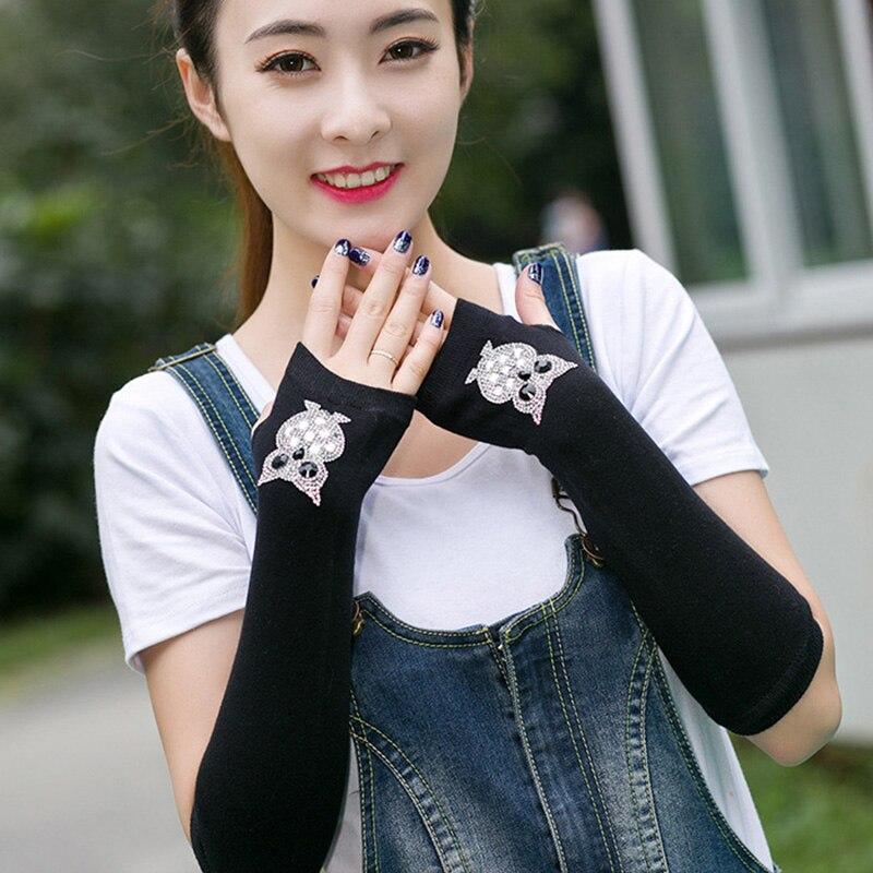 Female Cute Winter Warm Long Knit Fingerless Dance Sleeves Women Cool Cartoon Owl Rabbit Diamonds Rivet Sequins Cuff Gloves A40