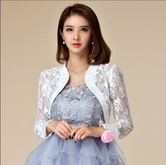 b7042198d2be6 Plus Size 2018 Stylish Women Wedding Long Sleeve Lace Evening Party Cape  Jacket Lady Big Bolero Crop Tops Cardigan Outwear RQ465-in Basic Jackets  from ...