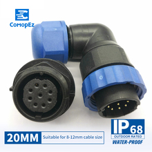 цена на Waterproof Connector SP20 Type IP68 Cable Connector Plug & Socket Male And Female 2 3 4 5 7 9 10 12 14 Pin SD20 20mm Elbow nut