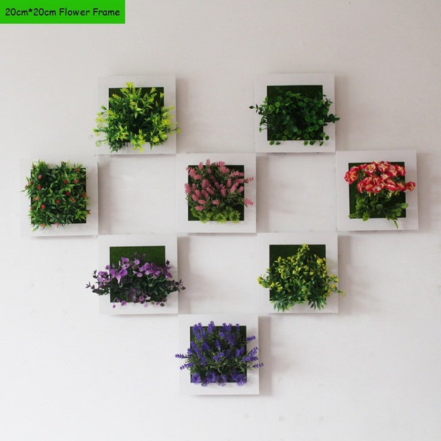 3D Wall Sticker Home Decor Artificial Flowers Frame 20*20cm Fake Plant Wall  Art Mural