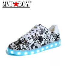 2017 women light up led luminous shoes recharge for adults neon basket color glowing casual fashion with new simulation sole