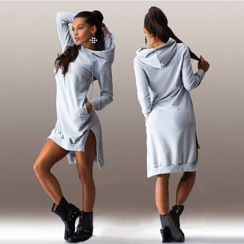COYOTE VALLEY Hot style 2017 European and American fashion irregular hooded long-sleeved dress fleece quality vestidos Ukraine