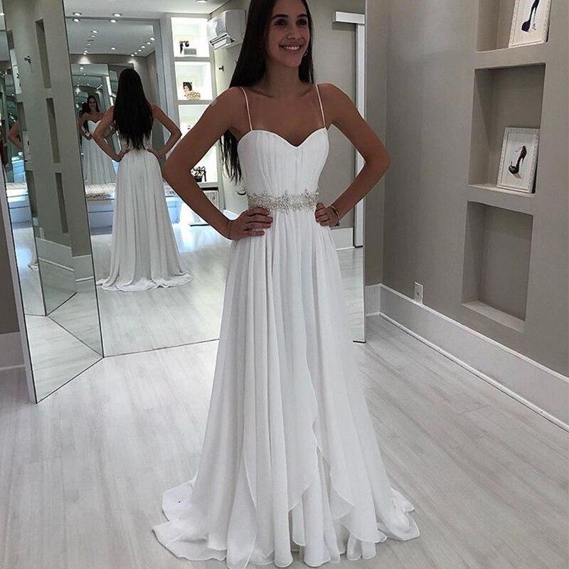 New Bridal Wedding Gown Centre: Chiffon Beach Wedding Dresses Spaghetti Straps White Ivory