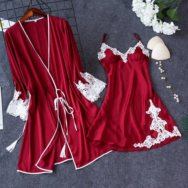 2019 Indoor Clothing Women Sleepwear Sexy Femme Robe Gown Set Sleep Lounge Ladies Nightwear Bathrobe Nightdress With Chest Pads
