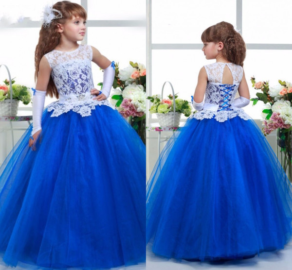 Royal Blue   Flower     Girl     Dresses   White Lace Children Kids   Dress   for Weddings Crew Back Lace Up Tulle   Girls   Pageant Communion Party