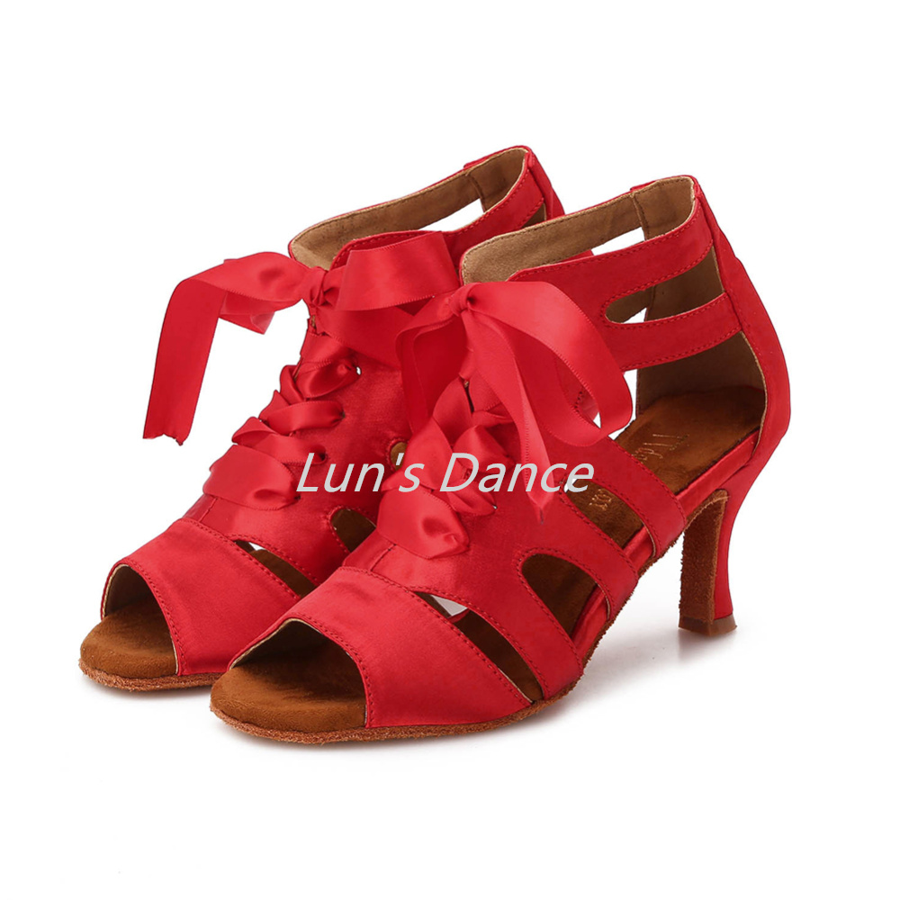 Nude Red Custom Satin Bowtie Salsa Latin Ballroom Salsa Tango Bachata Mambo Dance Shoes Ballroom Dancing Shoes Heels DS358