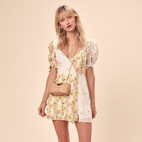 Lemons Floral Print Mini Dress Women Summer Patchwork Button Lantern Shory Sleeve V neck Sexy Dress Elegant Floral Short Dress