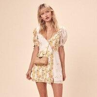Lemons Floral Print Mini Dress Women Summer Patchwork Button Lantern Shory Sleeve V neck Sexy Dress Elegant Floral Short Dress
