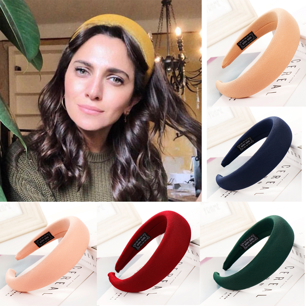Sponge Headbands Fashion Hoop Candy Multi-color New Thick Velvet Hairbands Wide Hair Accessories for Women Vintage   Headwear